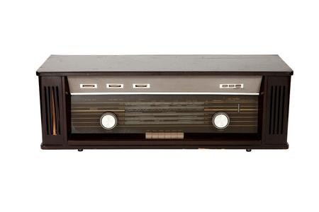 Retro dark brown radio on white background Stock Photo