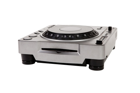 cd player: Old DJ turntable disk on white background