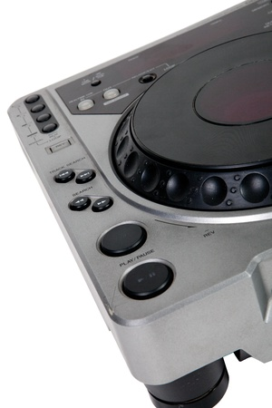Old DJ turntable disk, close up photo