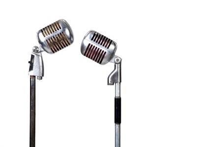 Couple vintage microphone on white background