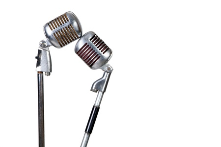 Couple vintage microphone on white background Stock Photo - 12899460
