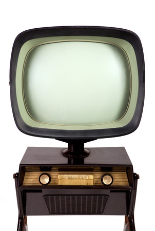 Vintage TV stand on white background photo