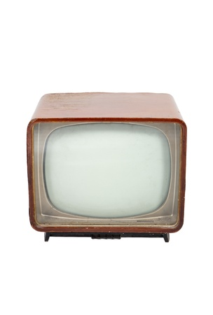 Old wooden television on white background photo