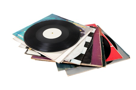 pile of papers: Pile of old vinyl records isolated on white