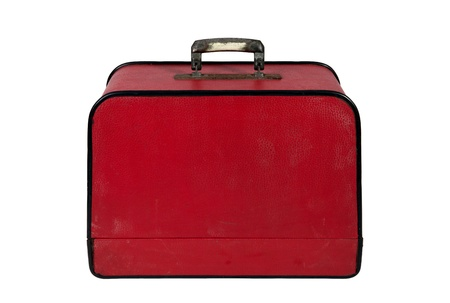 Old Red Vintage Suitcase On White Background Stock Photo, Picture ...
