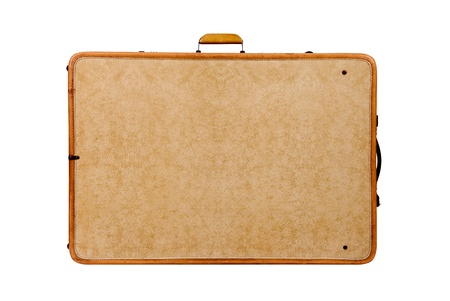 Old vintage suitcase on white background