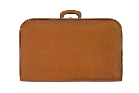 suit case: Old vintage suitcase on white background