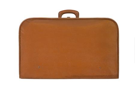 Old vintage suitcase on white background photo