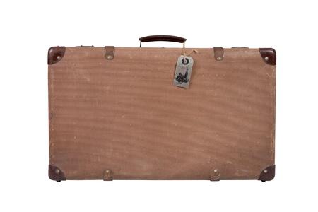 Old vintage suitcase on white background