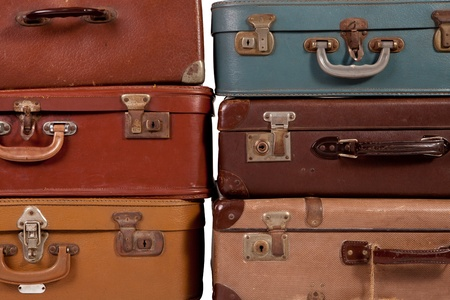 Pile of old suitcase photo