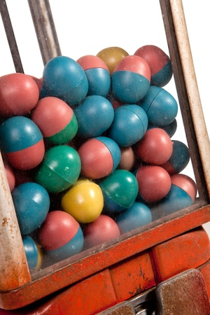 Old dispenser with colorful eggs inside, close up  Stock Photo