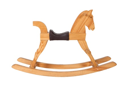Wooden rocking horse chair children isolated on white background Stock Photo