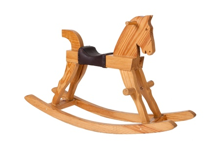 Wooden rocking horse chair children isolated on white background photo