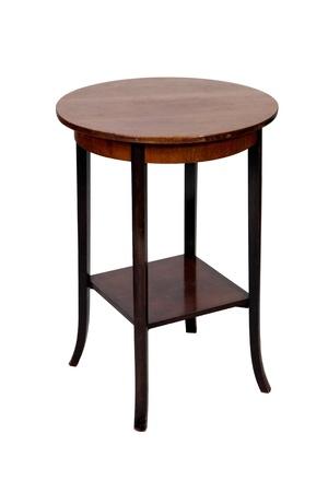 #13044809   Antik Holz Runden Tisch Isoliert Auf Weißem Hintergrund