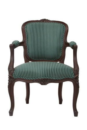 Green stripped vintage armchair on white background, front view