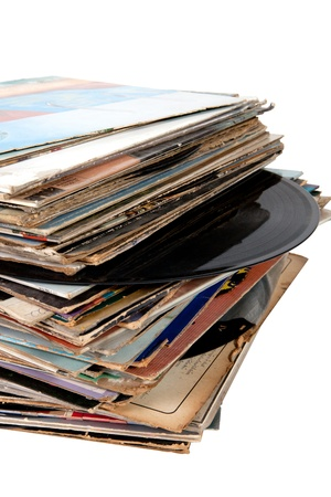 Pile of old vinyl records