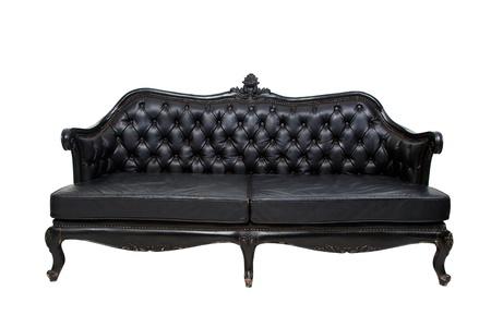 leren bank: Luxe zwart lederen sofa op witte achtergrond Stockfoto