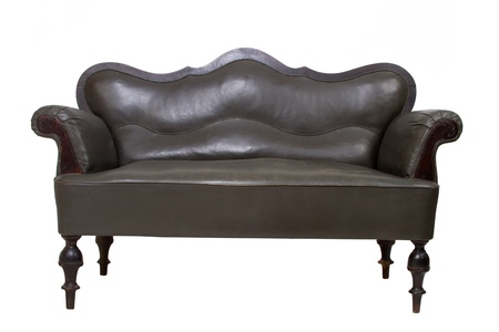 Luxury black leather sofa on white background