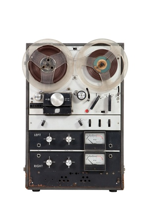 Old vintage reel-to-reel recorder on white background Stock Photo