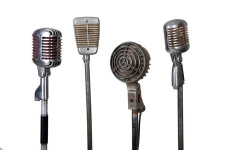 colección de micrófonos antiguos sobre fondo blanco Foto de archivo - 13225569