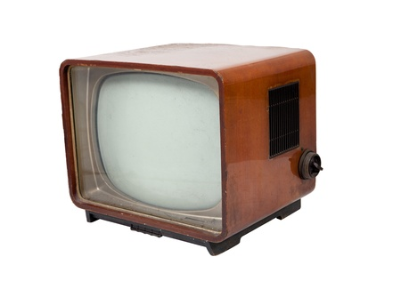 Old vintage wooden television on white background