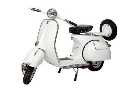 cycles: Vieux moto blanche sur fond blanc