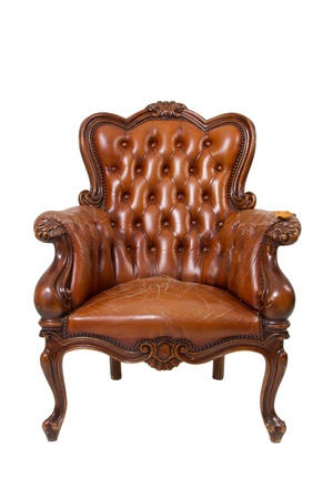 Brown luxury vintage leather armchair on white background