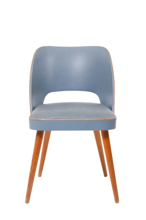 Blue modern chair on white background photo