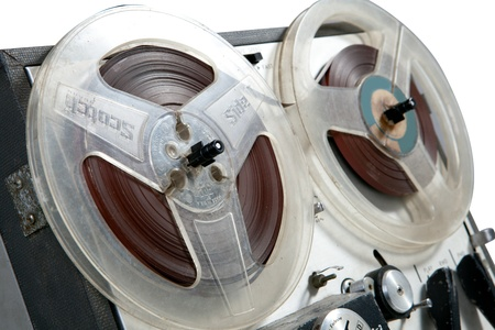 Old vintage reel-to-reel recorder, detail