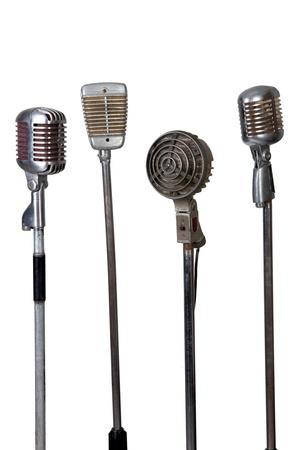 colección de micrófonos antiguos sobre fondo blanco Foto de archivo - 13255562