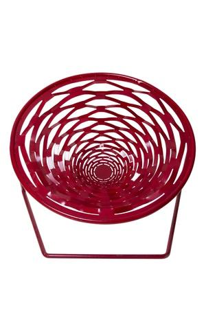 Red stylish modern garden chair on white background