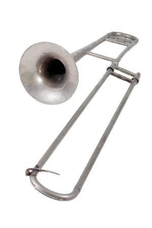 trombon: Tromb�n antiguo sobre fondo blanco Foto de archivo