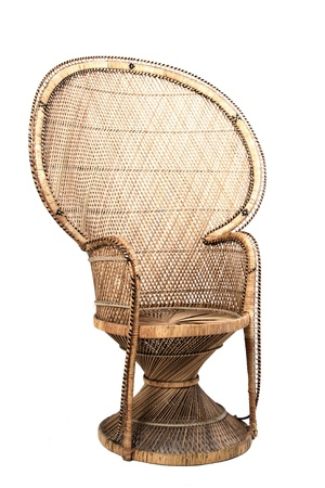 cane chair: Large brown ornate cane chair on white background
