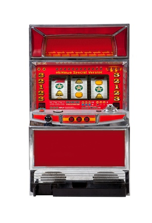 spinning reel: Slot machine on white background