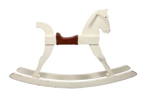 'rocking chair': White wooden rocking horse chair children on white background