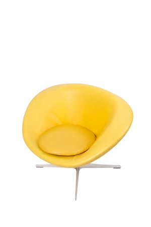 Yellow modern styled chair on white background
