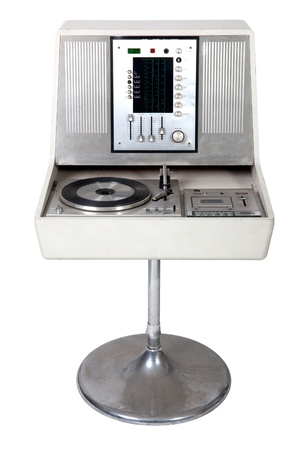 turntables: Retro turntable on white background Stock Photo