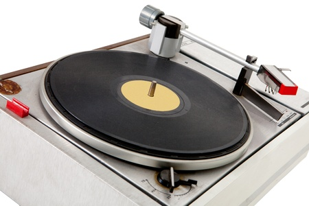 Old wooden vinyl player, close up. photo