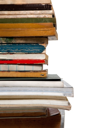 Pile of old books, close up photo