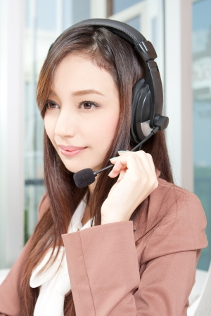 Beautiful Customer Representative with headset