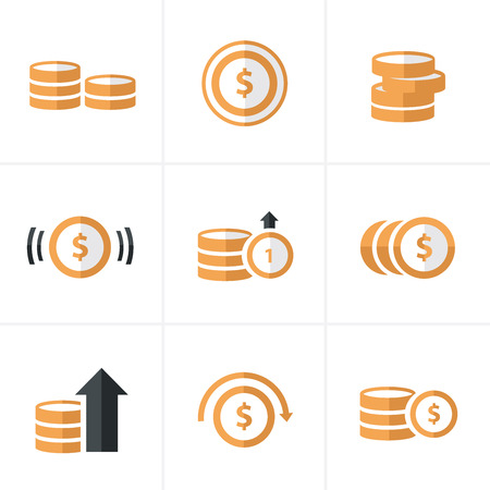 dollar coins: Flat icon  Coins Icons Set, Vector Design