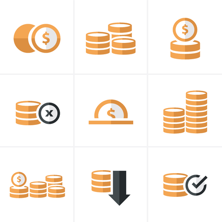 accumulate: Flat icon   Coins Icons Set, Vector Design black color Illustration