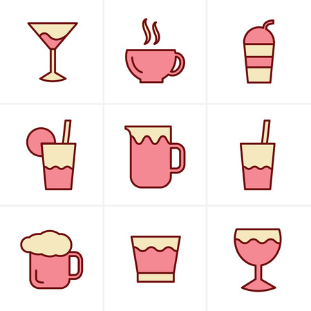 whie wine: Icons Style  Drink  Icons Set, Vector Design
