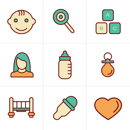baby toy: Icons Style  Baby Icons Set, Vector Design