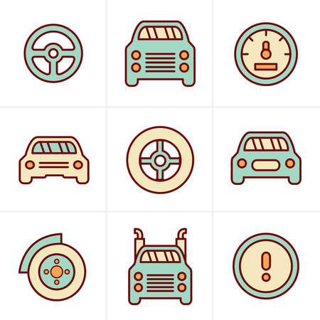 time drive: Icons Style Car Icons Set, Vector Design Illustration