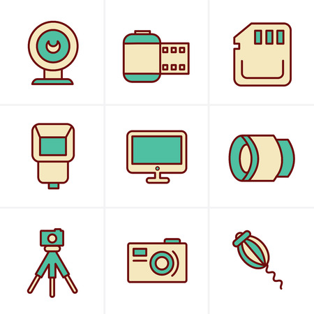 Icons Style Photography Icons Set, Vector Design