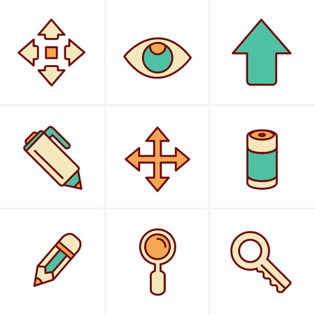 button batteries: Icons Style Set of Icons Set, Vector Design Illustration