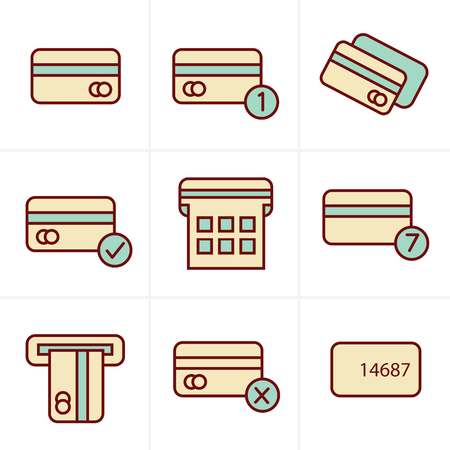 credit cart: Icons Style Vector black credit cart icons set