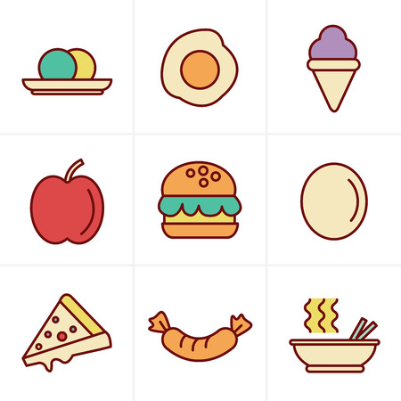 food icons: Icons Style food icons Illustration