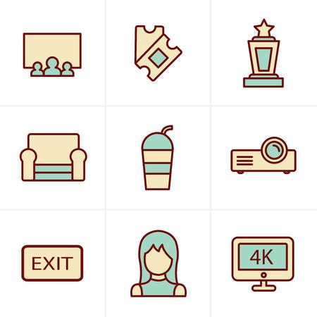 cine: Icons Style cinema and movie icons set Illustration